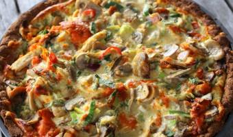 Low carb kyllingetærte med porrer og champignon