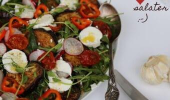Perlebygsalat med auberginer og gedeost