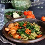 Squash pasta med tigerrejer, limesmør og ristede hasselnødder
