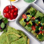Spinatpandekager med hjemmelavet tunsalat og guacamole