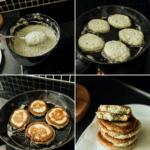 Broccoli blinis med røget laksetatar og græsk yoghurt