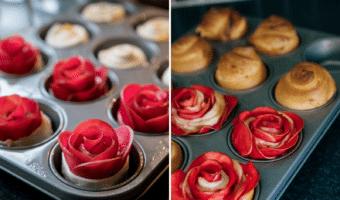 Croissanter med æbleroser og marcipan