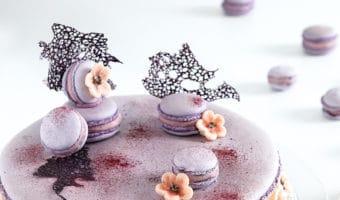 Kæmpe macaron kage med kirsebærblomster
